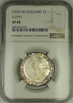 (1635-36) England Charles I Silver 1S Shilling Coin S-2791 NGC XF-40