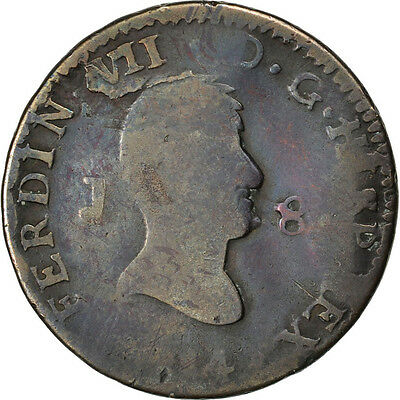 [#34077] SPAIN, 8 Maravedis, 1814, Jubia, KM #461, VG(8-10), Copper, 8.49