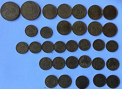 33 x Bell Fruit, Ace, Plus Other Slot/vending Machine Tokens. Different Values.