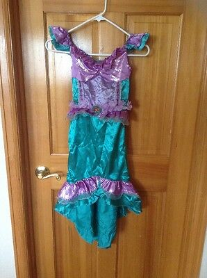 Girls Disney Ariel Mermaid Dress Halloween Pretend Costumes  4-6  sea green
