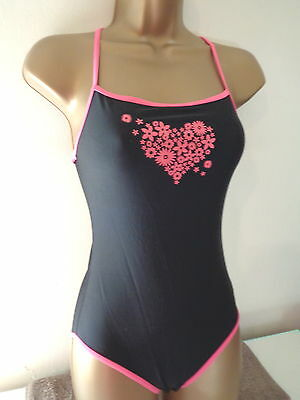 Cute Girls George Black Mix Cross Back Swimsuit Age 11-12 Years