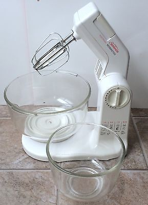 Vintage Sunbeam MixMaster Mixer W/ 2 Glass Bowls & Beaters TESTED & WORKING!