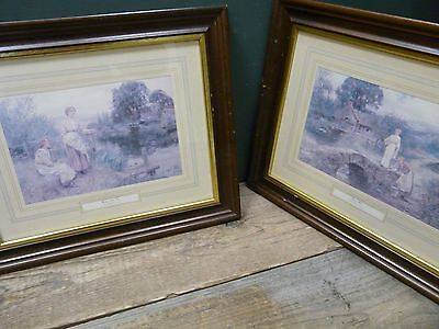2 framed prints H.J. King b.1855. Collection only. 44 x 37 cm each; some wear B6
