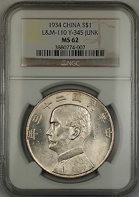 1934 China Silver Junk Dollar $1 Coin L&M-110 Y-345 NGC MS-62