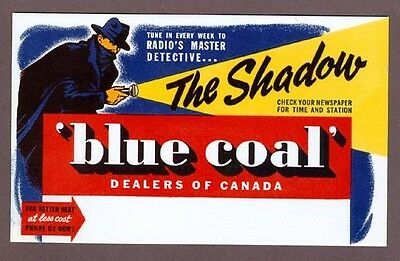 R1385.Unused blotter Blue Coal Canada 1950s The Shadow detective