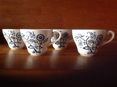 Lot Of 4 J & G Meakin English Ironstone Blue Nordic Cups  Discontinued