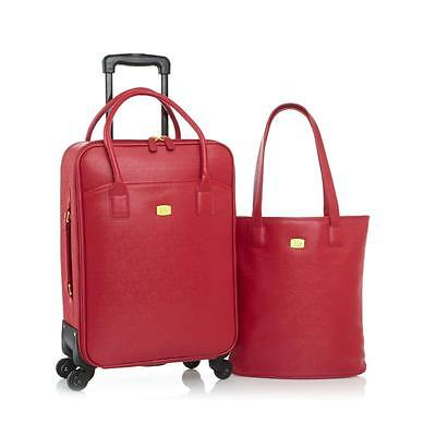 JOY Couture City Collection Tote and Carry-On Wheeled Dresser-RED-NWT