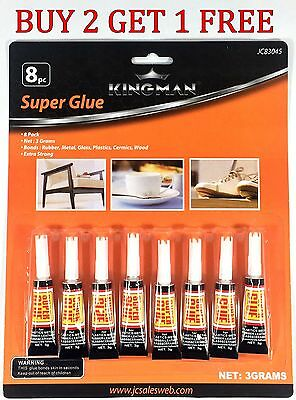8 pack SUPER GLUE Cyanoacrylate Adhesive Wholesale 3g Tubes Crazy Glue