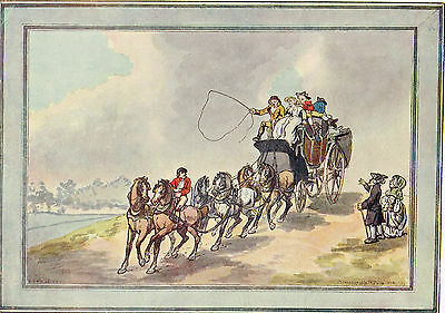 Coach And Six by T.Rowlandson Antique 1908 Print