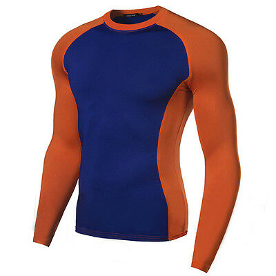 Mens Under Compression Armour Top Long Sleeve Shirt Cycling Base Layers Tights