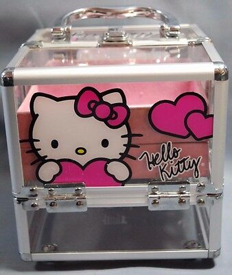Sanrio Hello Kitty Make-up Cosmetic Art Box Case CAT Clear with hearts - Used
