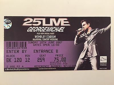 George Michael 25Live Inaugural Concert At New Wembley Used Ticket 2007