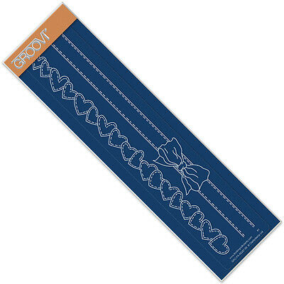 CLARITY STAMP GROOVI Embossing Border Plate RIBBON & HEARTS GRO-PA-40287-09