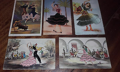 #6(5 X Spain 1960S) Artist Signed Embroidered Silk Postcard
