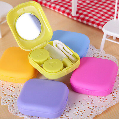 Mini Travel Mirror Contact Lens Kit Case Box Lens Storage Holder Container Care