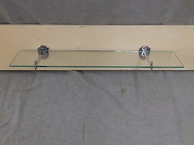"Vtg 24"" Glass Bathroom Kitchen Shelf Chrome Brass Brackets Old Fixture 13-17E-13"