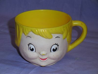 Dolly Dingle Campbells Kid Soup Plastic Character Vintage Face Mug Cup