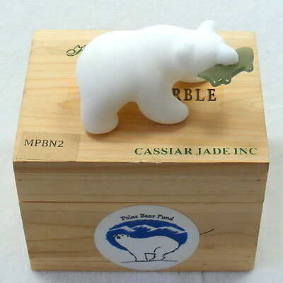 White Marble Polar Bear With Green Jade Fish Hand Carved Ornament In Pine Box