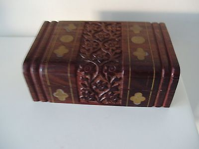 Nice Vintage Small Treen Box With Brass Inlay