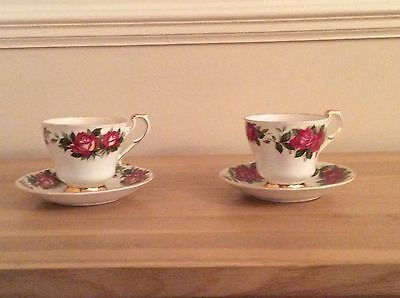 Pair Paragon Harry Wheatcroft Tea Cups And Saucers
