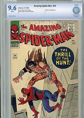 AMAZING SPIDER-MAN #34 (1966) CBCS 9.6 Kraven WHITE PAGES