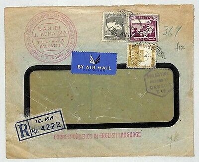 J240 1940 (WW2) Palestine, Registered in Tel Aviv, Air Mail - Censored