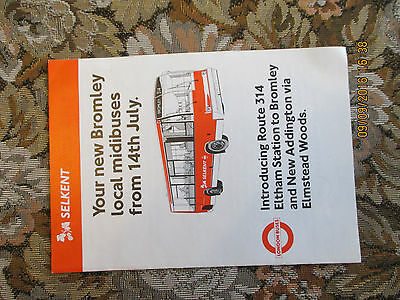 Original London Buses Selkent 314 Route&timetable 14 July 1990