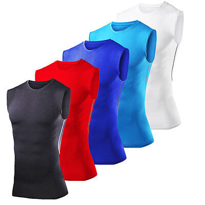 Mens Sleeveless Cycling Base Layers Shirt Vest Top Sports Compression Tights