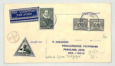 J242 1933 Netherlands to Java, East Indies by Air Mail, Combination Franking