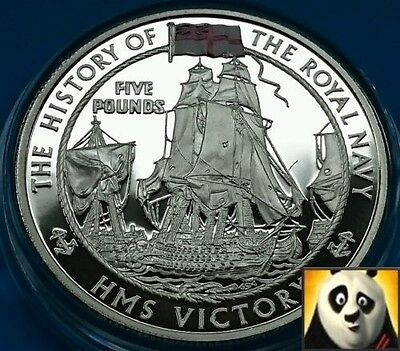 2004 JERSEY £5 Five Pound HMS Victory History of Royal Navy Silver Proof Coin