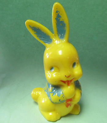 Vintage Easter Holiday Plastic Decoration  Baby Rattle Bunny with Carrot ~ IRWIN