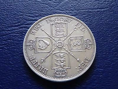 Queen Victoria Sterling Silver Florin 1887 Nice Coin - Cleaned Great Britain Uk