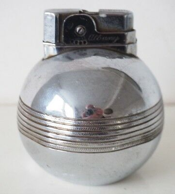 Vintage Albany Chrome Cricket Ball Table Lighter