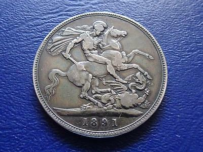 Queen Victoria Sterling Silver Crown 1891 Old Cleaning Great Britain Uk