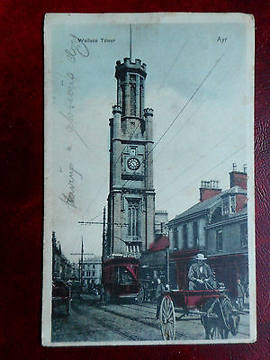 Wallace Tower,Ayr. Edwardian Postcard.1905. Tram,Horse Transport. Coded Message.
