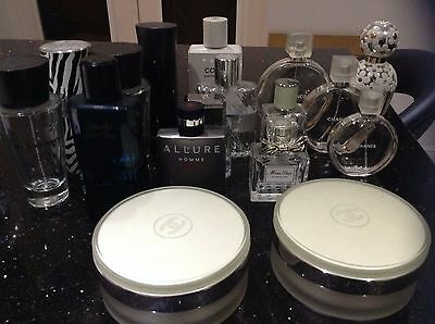 Empty Perfume and Aftershave Bottles, Including Chanel