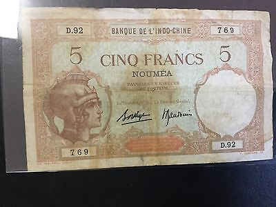 1926 New Caledonia Paper Money - 5 Francs Banknote !