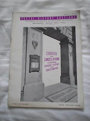 Robson Lowe Postal History Auction Catalogue - January 1952 Covers Cancellations