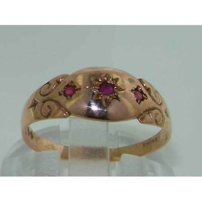 Unusual Rare 9Ct Rose Gold Ruby Gypsy Ring Ring