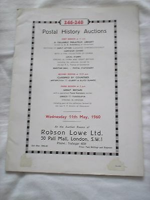 Robson Lowe Postal History Auction Catalogue - May 1960