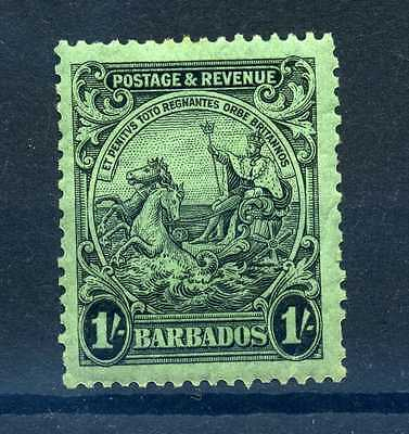 Barbados 1925 1 shilling black on emerald p13½x12½. MLH sg 237a. cat £70