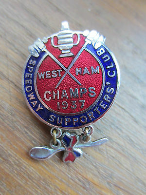 1937 West Ham Speedway Supporters' Club Champs 1937 Enamel Badge