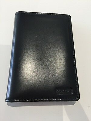 Coach Leather Black Notepad, Mini With Pen - New