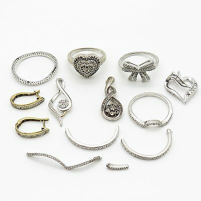 925 Sterling Silver Real Diamond Jewelry Lot for Parts