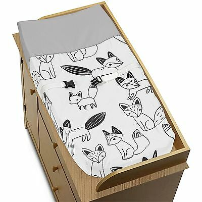 Changing Table Pad Cover For Sweet Jojo Grey Black & White Fox Baby Bedding Set