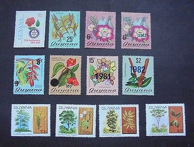 Lot Flora Flowers Gb Uk Guyana Incl Good Surcharges Vf Mnh N0.5 Start 0.99$