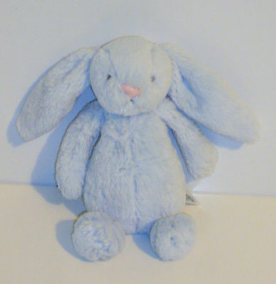 "Little Jellycat small Bashful Blue Bunny Rattle baby soft beanie toy 7"" DEBS26"