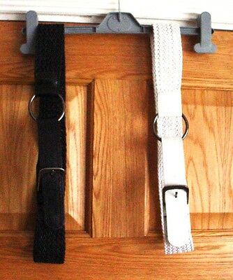 2 X Womens Woven Leather Chrome Buckle Waist Belt black/ white