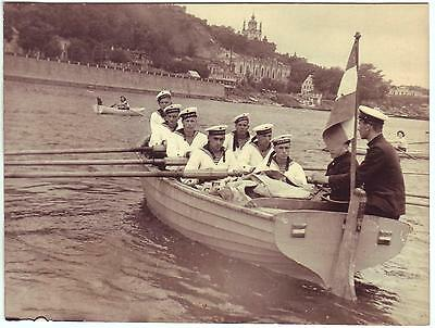 Russia Ussr Post-Wwii Press Photo: Sailors Naval Cadets Rowing, Dnepr River Kiev