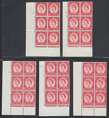 Great Britain SG 574, 574f MNH. 1959-61 Wilding, 13 diff Cylinder Blocks of 6